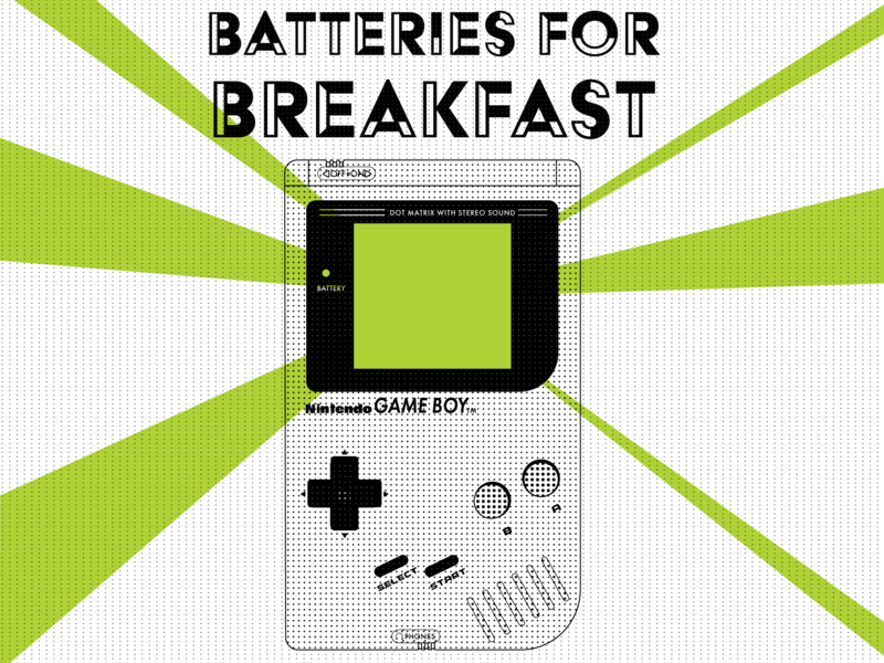 Batteries For Breakfast textured game boy gameboy nintendo typography vector graphic design illustration graphic design