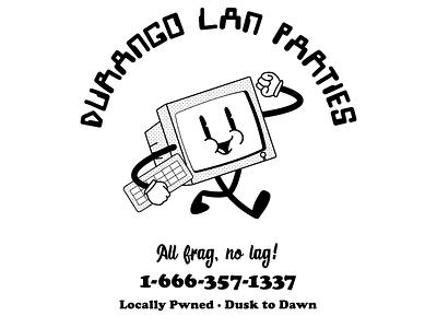 Durango LAN Parties Shirt Design shirt design apparel design lan party lan lan parties computer identity branding typography vector graphic illustration design graphic design