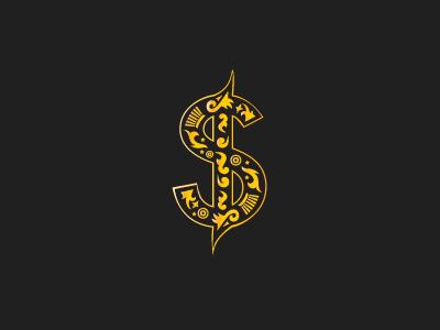 Gold Buyers Logo gold dollar logo ornamental illustration black ornate jewellery shapes