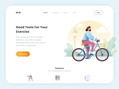 Exercise Tools Landing Page orange blue login cta btn get started features bike tools tool