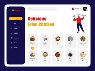 Pizzasta! Delicious Fried Chicken panel fastfood chicken pasta pizza kitchen chef web platform