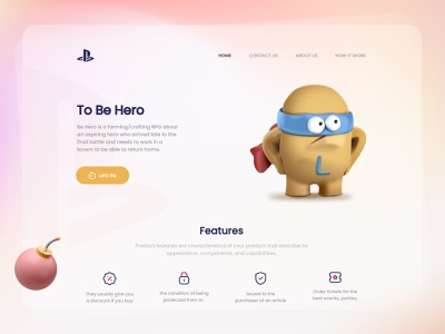 🎮 Be Hero Game Landing Page ps hero game iconly dark light 3d 3dcharacter