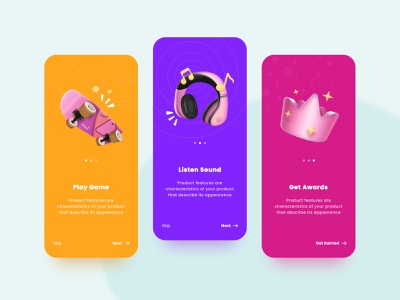 Game app onboarding pattern color mobile onboarding award awards music crown game desigm ui app game