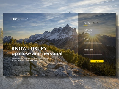 Lux Getaways - Sign Up Page