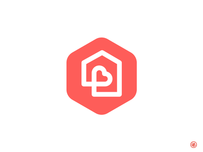 Home Is Where The Heart Is white lines red simplistic thick lines home branding logo design logo house love
