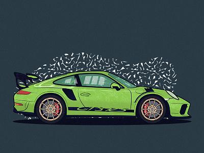 Porsche GT3 thick lines supercar supercars cars automobile automotive adobephotoshop photoshop design noise shadow noise grain texture porschegt3 porsche adobe adobe illustrator vector illustration illustrator