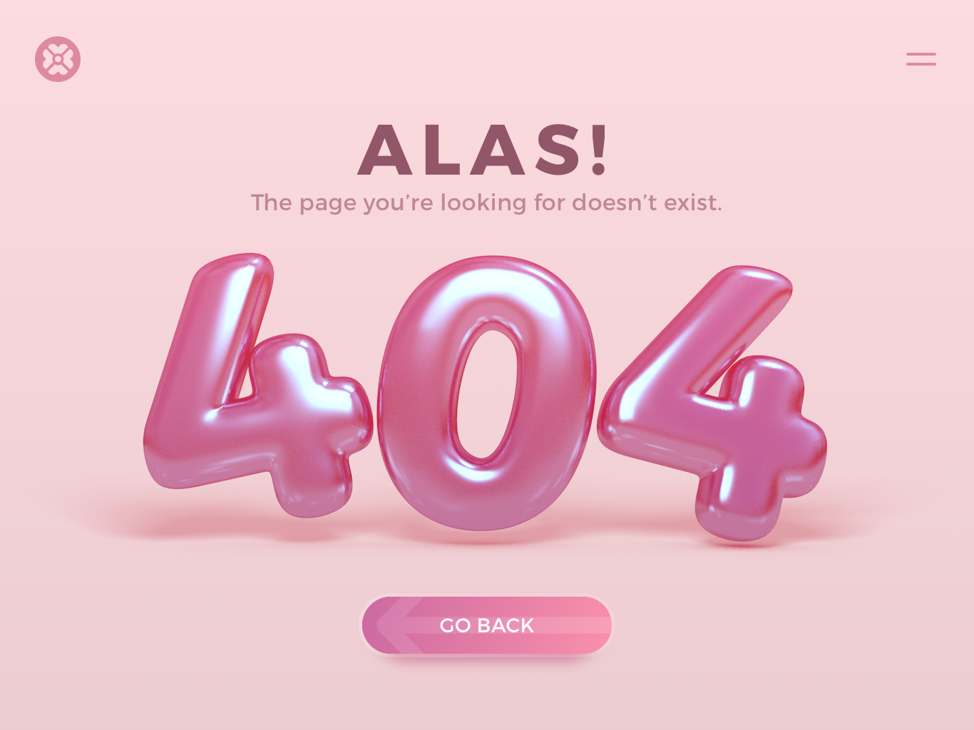 Daily UI - 008 404 Page 3d graphic 3d pink 404 error 404 error page 404 page design ui dailyui
