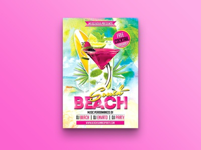 South Beach Party Flyer water color surfboard summer festival splash flyer south beach holiday fresh flyer design colorful coconut tree cocktail beach