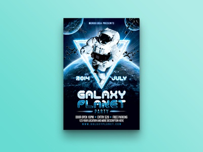 Galaxy Planet Party Flyer triangle techno planet party flyer nebula invitation galaxy futuristic electronic disco dance astronaut