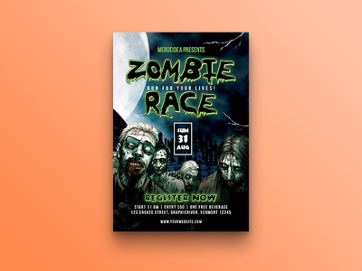 Zombie Race Flyer zombie run zombie walking dead template scary register invite horror halloween event castle cartoon