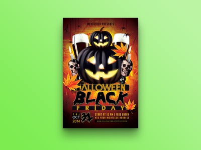 Halloween Black Friday Flyer template spider skull pumpkin poster night invite horror halloween flyer candle beer
