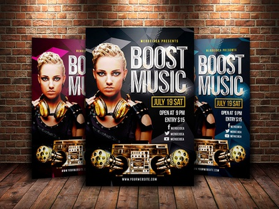 Boost Music Flyer night club speaker electronic music photoshop dj invitation concert party template flyer rock music punk
