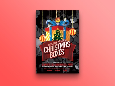 Christmas Boxes Party Flyer flyer template vintage christmas eve invitation celebration christmas tree gifts box boxes santa xmas christmas decoration christmas