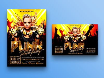 Punk Rock Party Flyer flyer template gold gun headphone dance dj speaker nightclub concert heavy metal punk rock