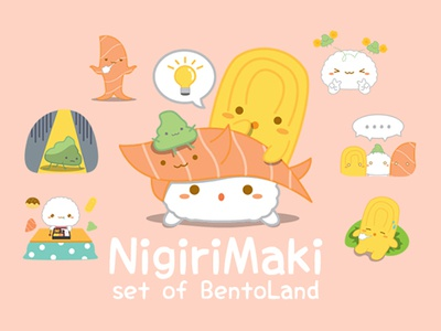 NIGIRIMAKI set of BentoLand food japanese sashimi sushi illustrator vector drawing cartoon line creator character line sticker