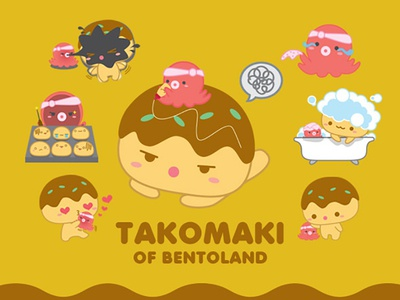 TAKOMAKI of BentoLand character drawing sticker japanese food line creator vector takoyaki bentoland cartoon takomaki illustration