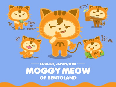 MOGGY MEOW of BentoLand sticker tiger funny bentoland drawing vector japanese line creator cat cartoon character illustration