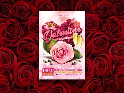 Valentine Roses Party Flyer romantic valentines day roses psd pink pearl party night lover love light holiday heart flyer event dance cocktail champagne celebration 14 february
