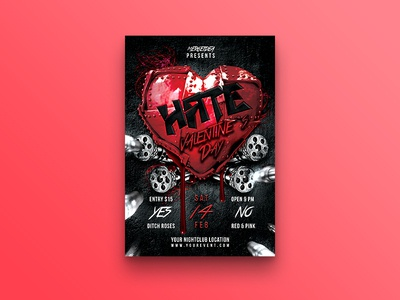 Hate Valentines Day Party Flyer single party valentines day romantic psd party nightclub metal love light holiday heart hate valentine gatling gun flyer celebration bullets broken heart black anti valentine 14 february
