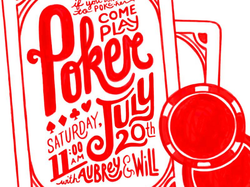 Poker! wacom hand drawn invitation clubs hearts poker spades