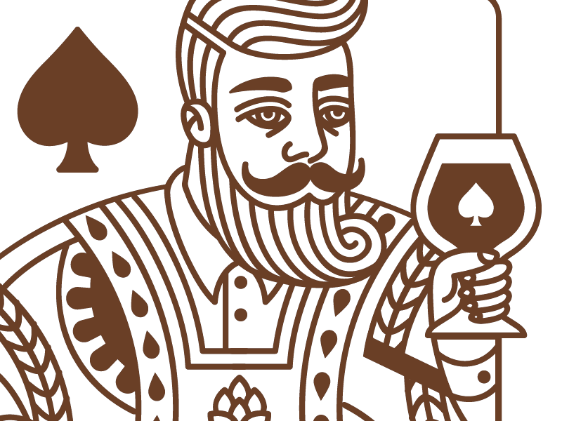 King of Spades cards playing deck beer craft illustration beard