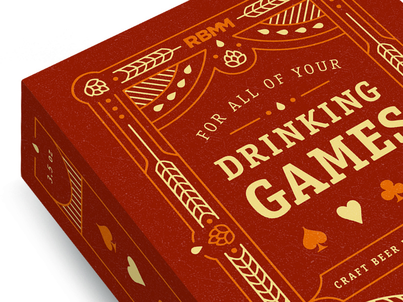 Drinking Games hearts spades clubs hops barley illustration craft beer deck playing cards diamonds