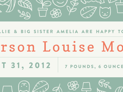 Emerson #1 birth announcement baby family cats plants leaves emerson typography illustration