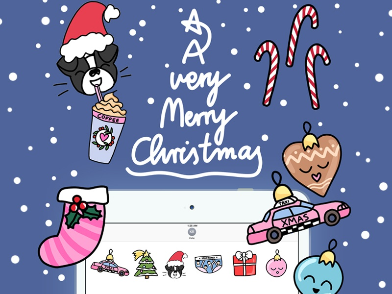 Xmas time! iOS Stickers for Yeah Bunny pink drawing emoji xmas stickerspack imessage stickers ivo yeahbunny