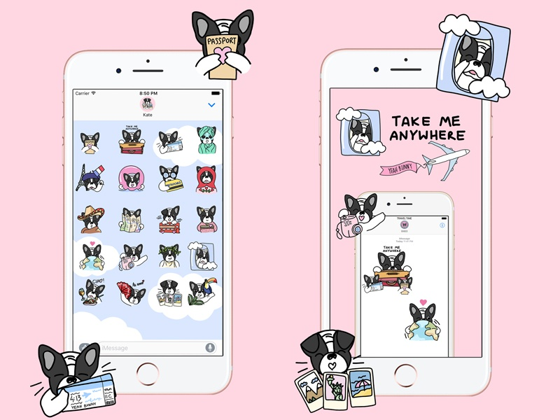 iOS Stickers for Yeah Bunny yeahbunny ivo stickserpack message travel iphone frenchie stickers drawing doglover dog illustration