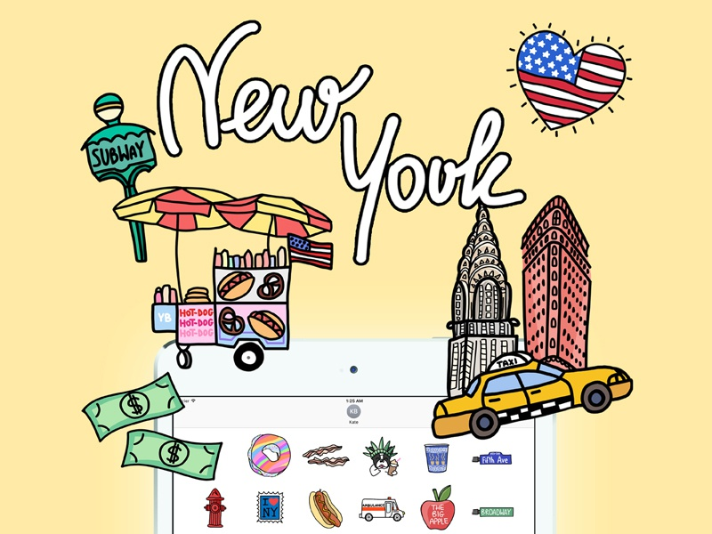 New York iOS Stickers for Yeah Bunny newyork appstore nyc yeahbunny ivo message travel iphone stickers drawing illustration