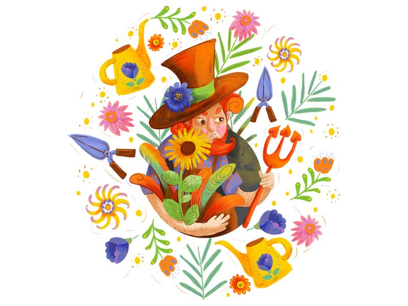gardener garden gardener digital characterdesign design illustration character