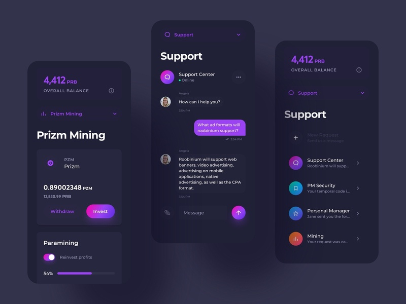 Cloud Mining Dashboard App Mobile Screens cryptocurrency crypto design cloud mining blockchain mining cloud screens minimal dark ui dark mode clean ui clean account dashboard mobile application app ux design ui design interface