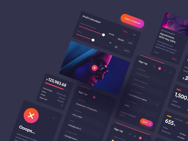 Cloud Mining Dashboard Mobile UI Kit field form cryptocurrency crypto design cloud mining blockchain mining cloud ui kit minimal dark ui dark mode account dashboard mobile application app ux design ui design interface