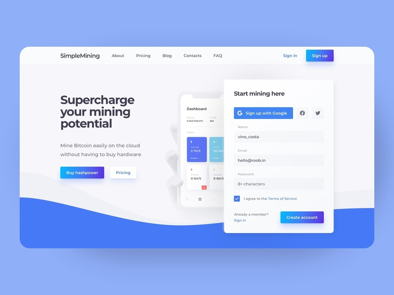 Cloud Mining Landing Page Desktop Concept field form cryptocurrency crypto design cloud mining blockchain mining cloud concept neomorfism clean ui clean langing landing page desktop web design web ux design ui design interface