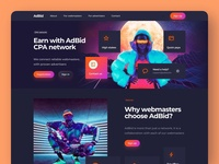 CPA Network Landing Page Concept crypto design cryptocurrency fintech finance crypto trading concept minimal dark ui dark mode langing landing page desktop web design web ux design ui design interface