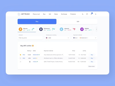 p2p exchange platform home page desktop dark and light interface selection minimal clean dark mode header tabs table cryptocurrency crypto currency filter sell buy buy and sell coins list exchange p2p p2p exchange