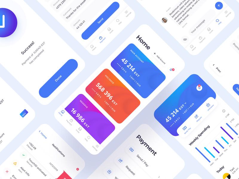 Mobile Banking App UI Map fintech finance balance app interface bank card clean notifications chat bar chart chart credit card payment creditcard card mobile app banking mobile uimap ux ui