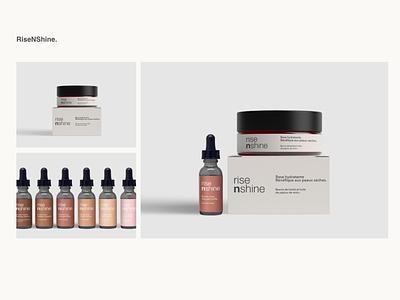 RiseNShine minimal design logo branding ui packaging design pack packaging