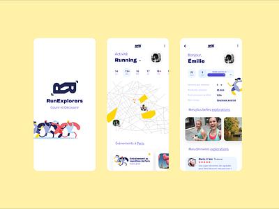 RunExplorers minimal app ui design running running app application ui application app design uidesign uiux ux design ux