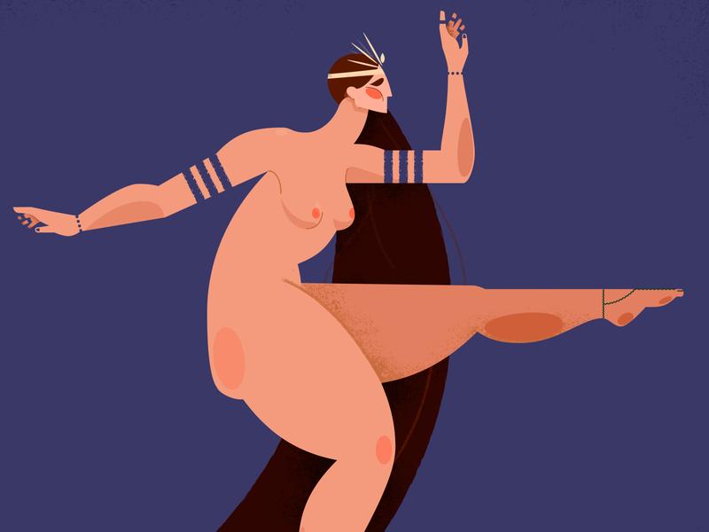 Dance Little Lady vintage dancing woman blue design girl illustration vector