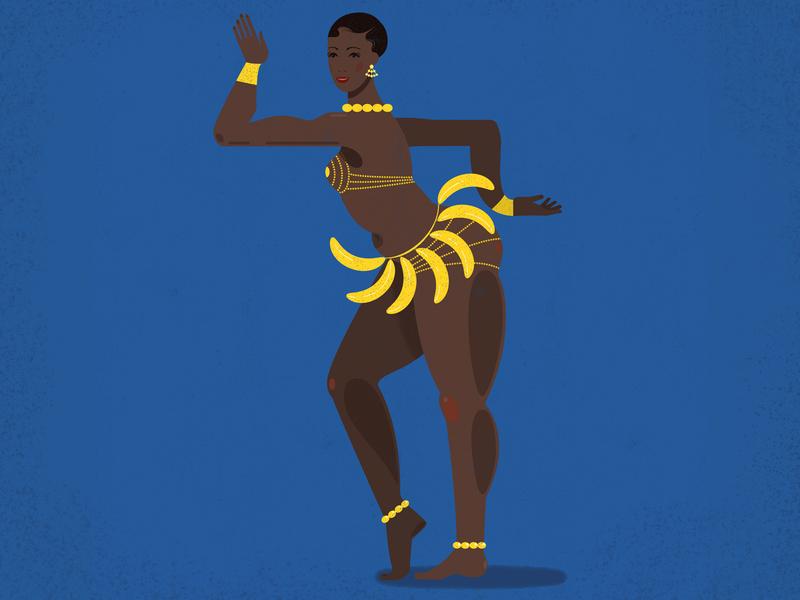 Josephine bananas woman blue design girl illustration vector