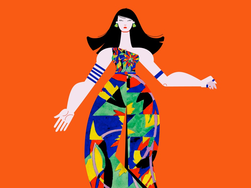 Fashion Girl style 1970s outfit green blue woman design girl illustration vector