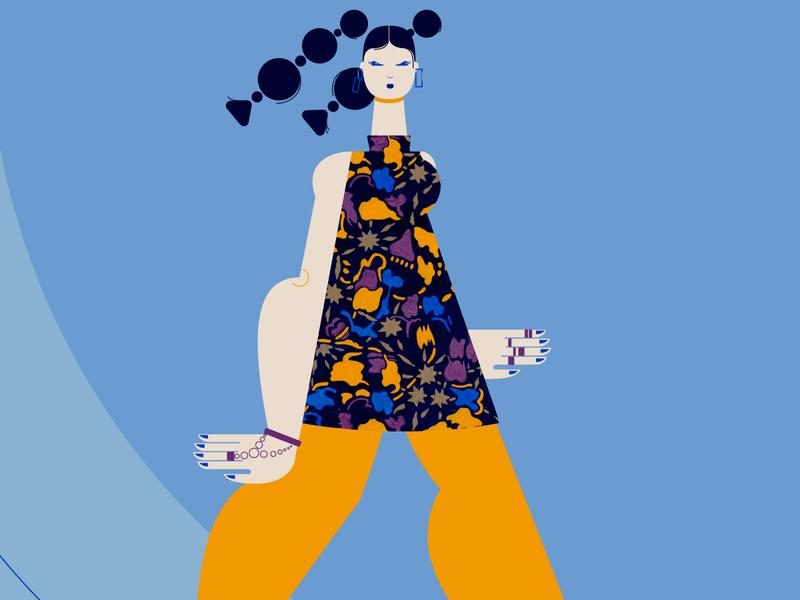 Fashion Girl adobe illustrator cc vector illustration detail dress pattern blue woman design girl illustration vector
