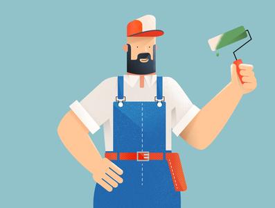 House painter worker noise grain texture man blue design illustration vector
