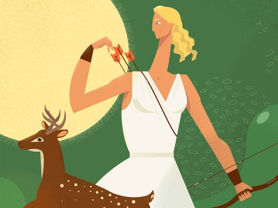 Artemis arrow bow greek green huntress deer animals woman girl design illustration vector