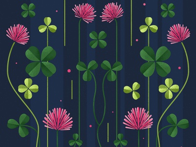 Clover plants texture luck flowers illustration pink flowers green blue design illustration vector