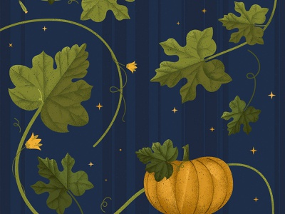October plants leaves halloween orange pumpkin green blue design illustration vector