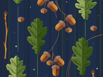 Acorns nature plants leaves autumn fall texture green blue design illustration vector