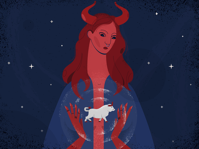 Year of the Bull mythological fairytale red silver bull new year woman blue girl design illustration vector
