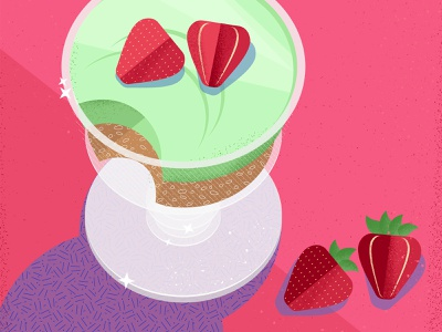Still here still life 46 food and drink texture summer bright pink dessert ice cream strawberry design illustration vector